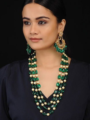 Green Gold Tone Pearl Beaded Necklace with Kundan Earrings (Set of 2)