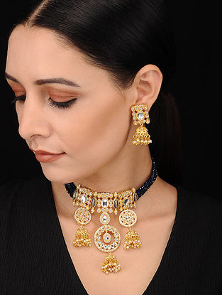 Black Gold Tone Kundan Pearl Beaded Necklace with Earrings (Set of 2)