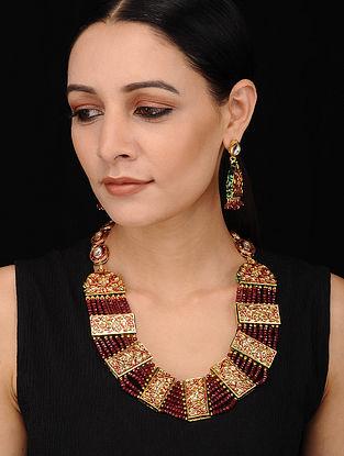 Maroon Gold Tone Enameled Kundan Necklace with Earrings (Set of 2)