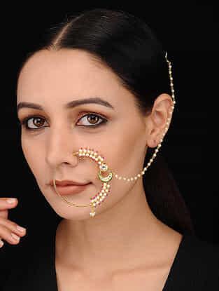 Maroon Gold Tone Kundan Nath with Pearls