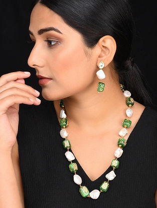 Green Gold Tone Kundan Enameled Necklace with Earrings (Set of 2)