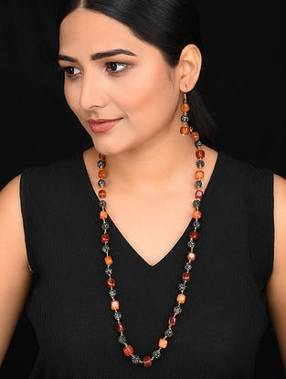 Orange Red Gold Tone Mercasite Necklace with Earrings (Set of 2)