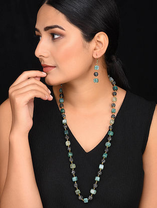 Green Gold Tone Mercasite Necklace with Earrings (Set of 2)
