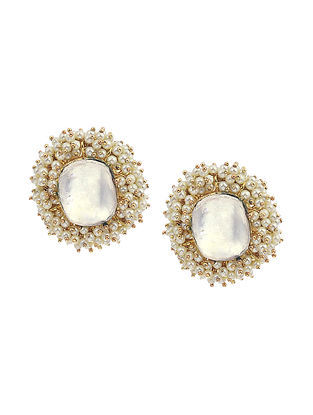 Gold Tone Kundan Handcrafted Earrings with Pearls