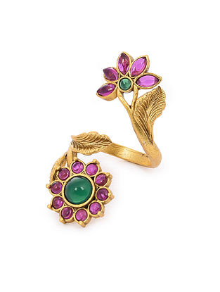 Pink Green Gold Tone Handcrafted Ring