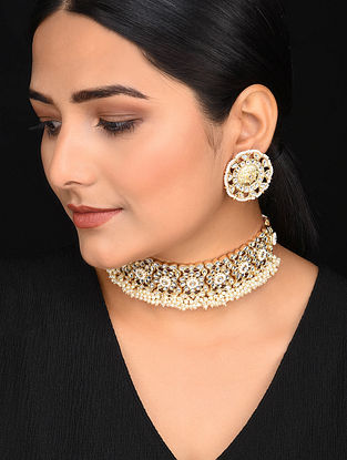 Gold Tone Kundan Handcrafetd Necklace with Earrings (Set of 2)