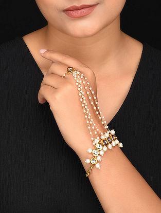 Kundan Gold Tone Hathphool with Pearls (Set of 2)