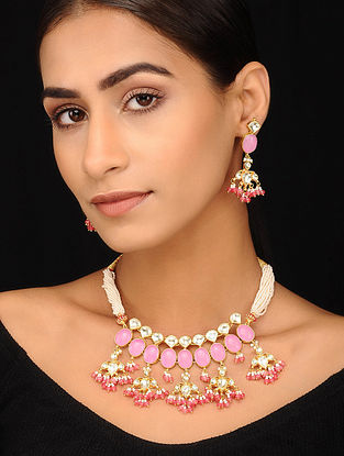 Pink Gold Tone Pearl Beaded Kundan Necklace with Earrings (Set of 2)