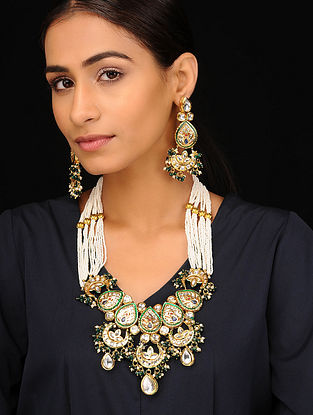 Gold Tone Pearl Beaded Necklace with Earrings (set of 2)