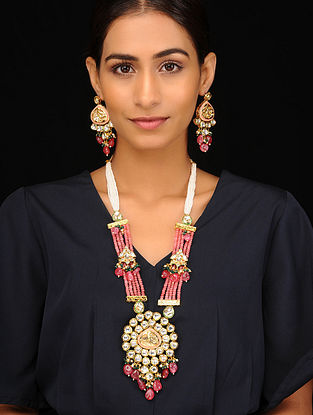 Red Green Gold Tone Kundan Beaded Necklace with Earrings (Set of 2)