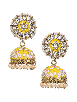 Yellow Gold Tone Kundan Enameled Earrings
