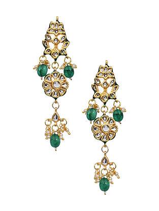Green Gold Tone Kundan Earrings with Pearls