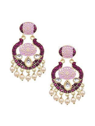 Purple Gold Tone Kundan Earrings with Pearls