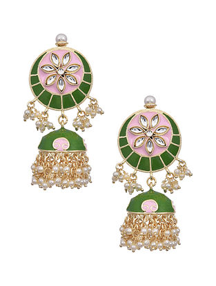 Green Pink Gold Tone Enameled Earrings with Pearls