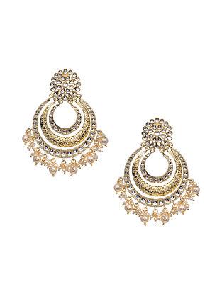 Gold Tone Kundan Earrings with Pearls
