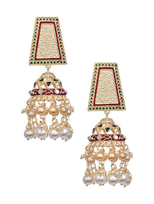 Red Green Gold Tone Enameled Earrings