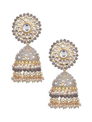 Grey Gold Tone Kundan Enameled Earrings with Pearls