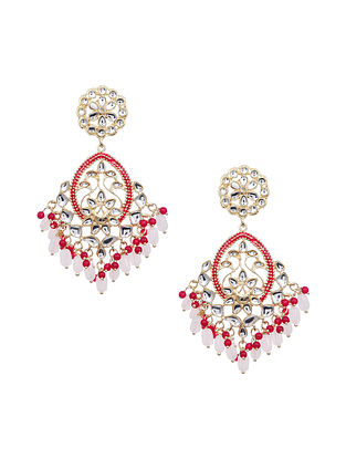 Pink Red Gold Tone Kundan Earrings