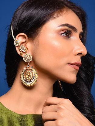 Gold Tone Kundan Beaded Earrings