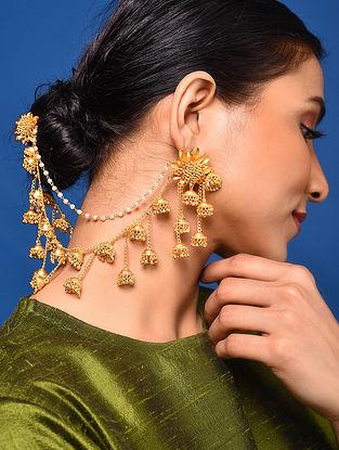 Gold Tone Kundan Pearl Beaded Earrings