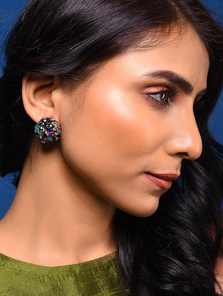 Multicoloured Silver Tone Handcrafted Earrings