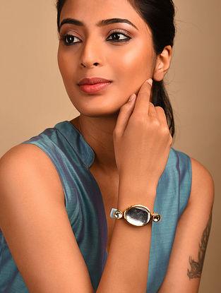 Blue Gold Tone Kundan Bracelet with Quartz