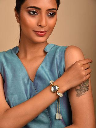 White Gold Tone Kundan Bracelet with Quartz