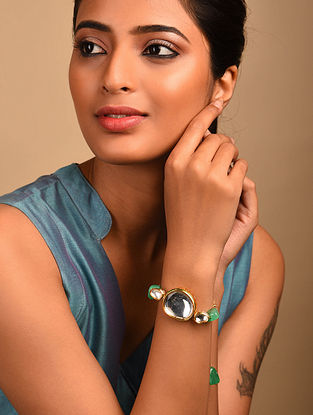 Green Gold Tone Kundan Bracelet with Quartz