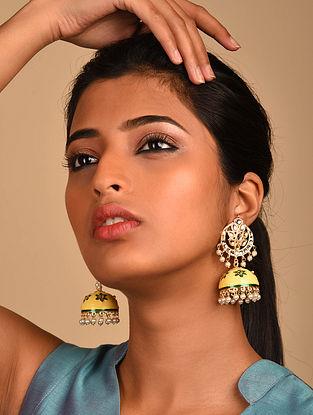 Yellow Gold Tone Kundan Enameled Jhumki Earrings with Pearls