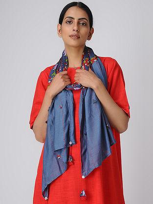 Blue Printed Silk Scarf