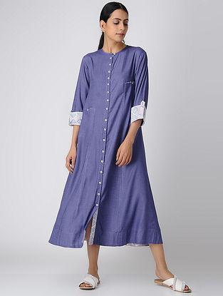 Purple Button-down Rayon Slub Dress