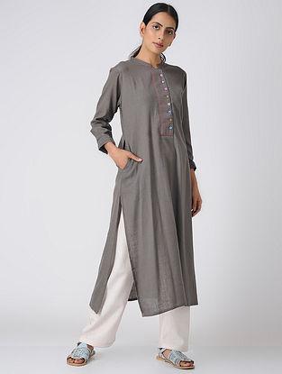 Grey Cotton Slub Kurta with Pocket