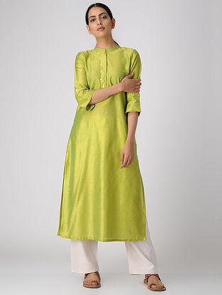 Green Cotton Silk Kurta