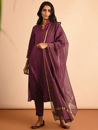 Purple Silk Cotton Dupatta