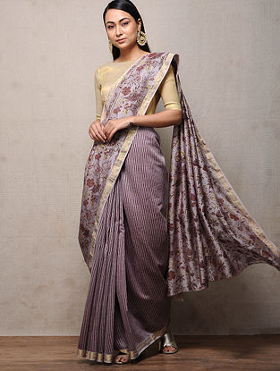 Lilac Khari-printed Chanderi Saree