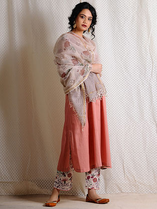 Beige-Madder Printed Kota Cotton Dupatta with Zari