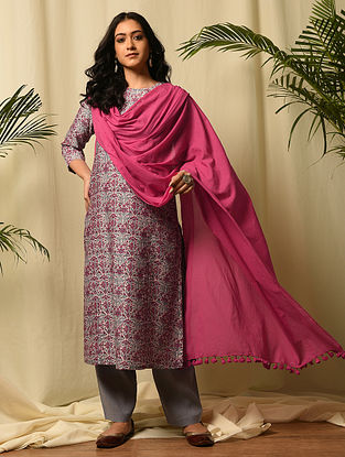 Pink Handloom Cotton Dupatta with Tassels