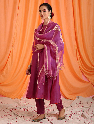 KIRAN - Pink Handloom Silk Cotton Dupatta with Zari