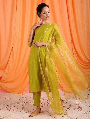 SAMARA - Green Handloom Silk Cotton Dupatta with Zari
