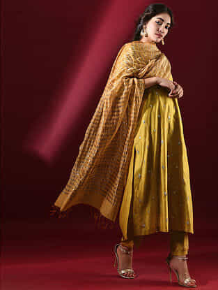 ADYA - Mustard Silk Cotton Dupatta with Zari