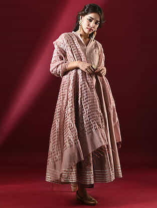 WAMIKA - Pink Silk Cotton Dupatta with Zari