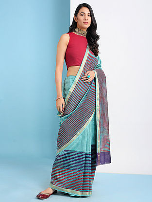 YANGIYER - Green-Pink Block Printed Silk Cotton Saree