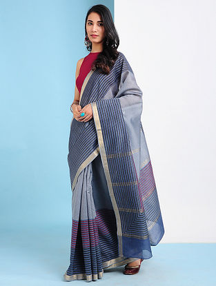 JUMA - Grey-Pink Block Printed Silk Cotton Saree