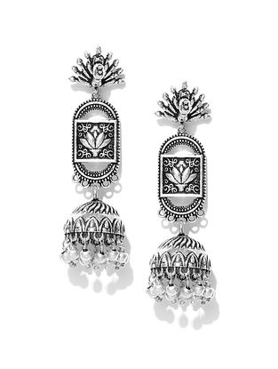 Tribal Silver Tone Jhumki Earrings
