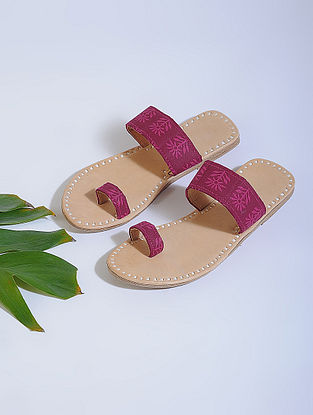 Purple-Beige Block-printed Cotton and Leather Flats