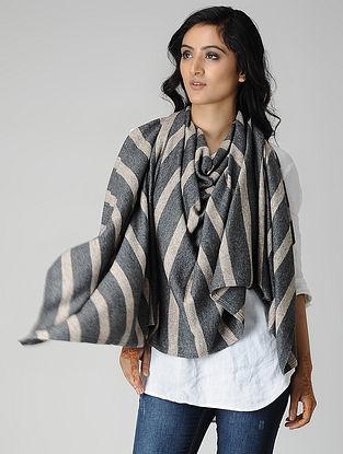 Black-Beige Wool Blend Stole