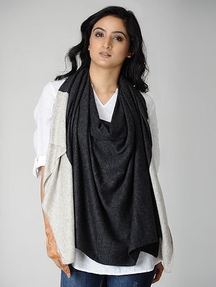 Black-Ivory Wool Blend Stole