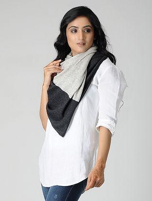 Ivory-Black Wool Blend Stole