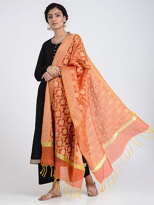 Peach Benarasi Cotton Art Silk Dupatta