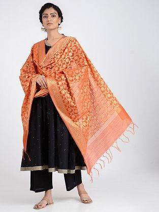 Orange Benarasi Cotton Art Silk Dupatta
